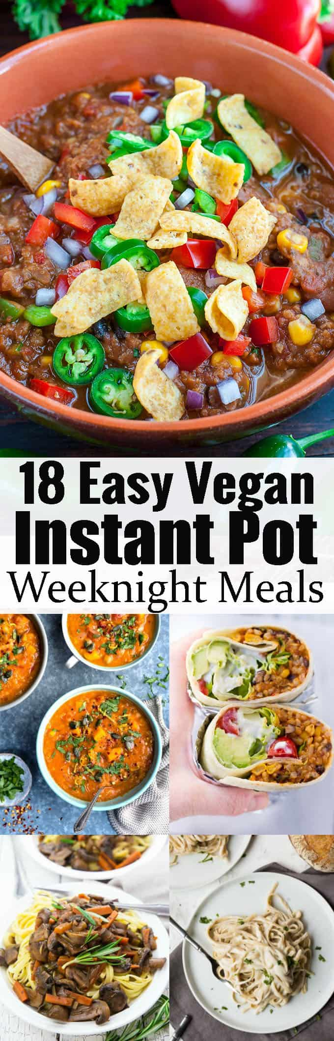 If you're looking for vegan instant pot recipes, this is the perfect post for you! It includes 18 easy vegan dinner recipes that are ready in no time. Perfect for weeknight meals! Find more vegan recipe ideas at veganheaven.org!
