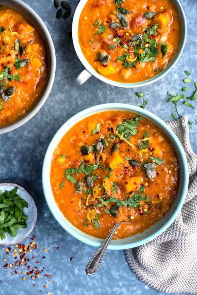 Three Bowls of Sweet Potato Chickpea Red Lentil Soup