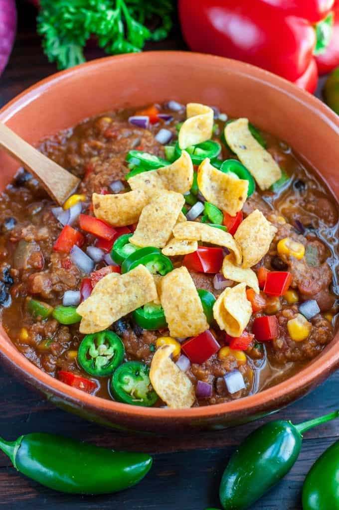 Vegan Lentil Chili with Nachos on Top
