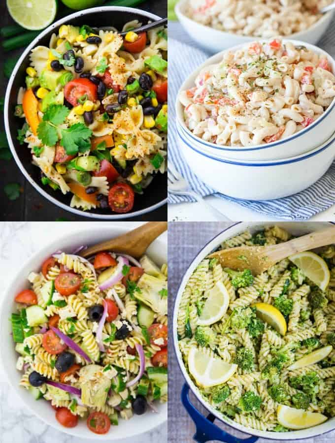 Collage of Vegan Pasta Salad Recipes
