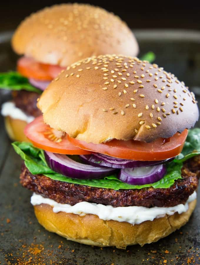 Cauliflower Burger with vegan mayonnaise