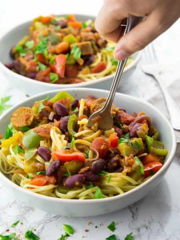 Jambalaya Pasta in a Bowl with a Fork