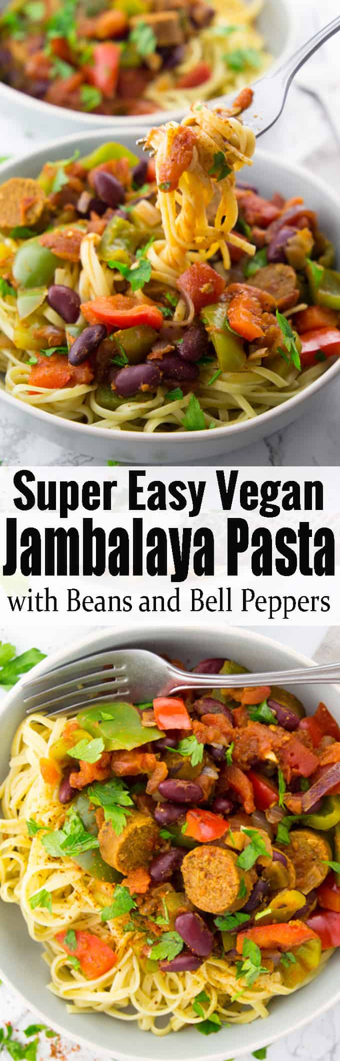 If you love the aromatic flavors of traditional jambalaya then this cajun jambalaya pasta recipe is for you! It's the perfect comfort food and makes such a great and easy weeknight dinner! For more vegan recipes check out veganheaven.org! #jambalaya #pasta #vegan #veganrecipes