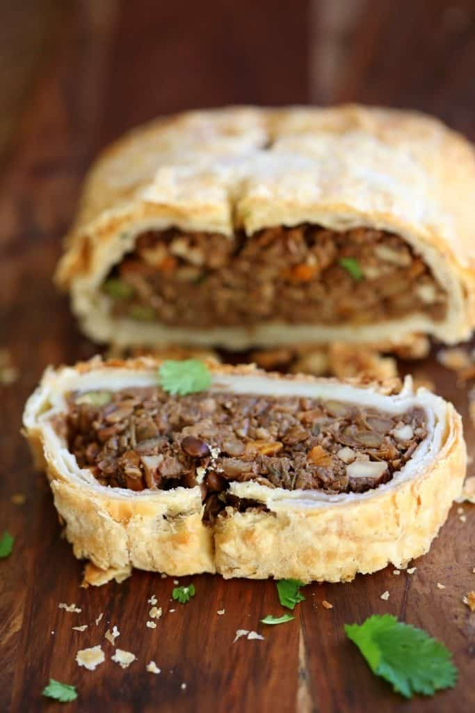 Vegan Wellington with Mushrooms, Lentils, and Veggies