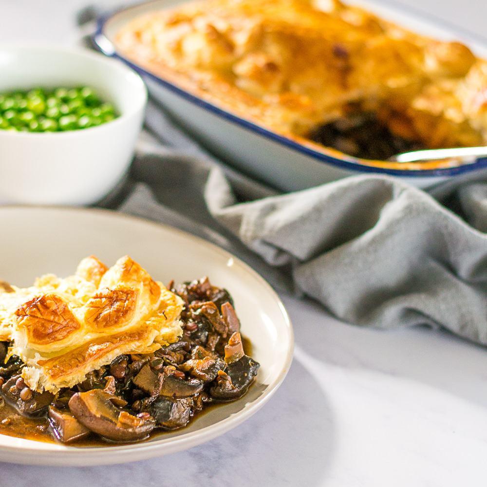 Hearty Vegan Mushroom, Ale & Lentil Pie