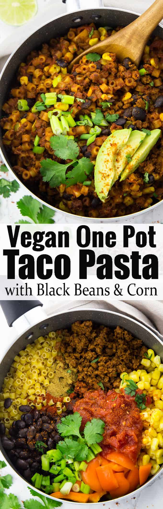 This one pot taco pasta is the perfect vegan weeknight meal! Vegan dinner at its best! It's super easy to make and packed with protein. For more easy vegan recipes check out my blog veganheaven.org! #vegan #onepotpasta #dinnerideas #vegetarian