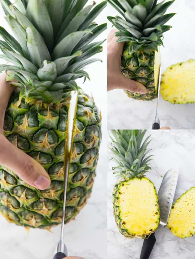 A pineapple being cut into a bowl