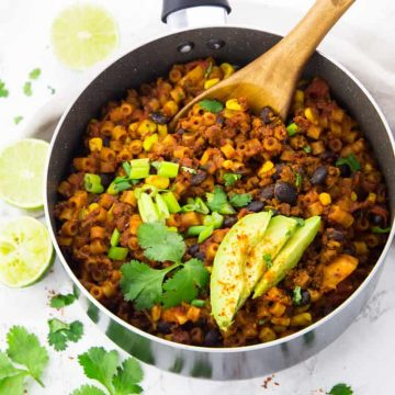 Taco Pasta with Black Beans and Corn in a Pot