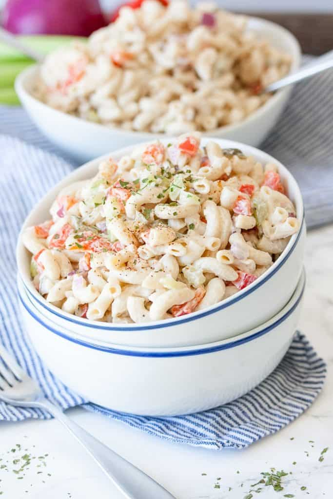 Healthy Vegan Macaroni Salad in Two Bowls