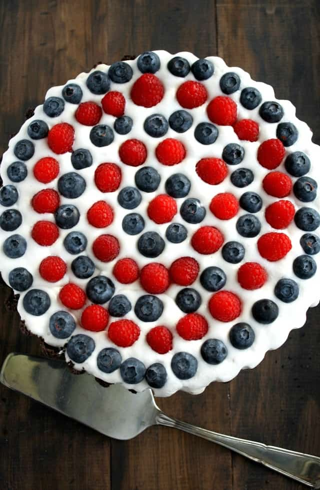 Patriotic Berry Tart with Oreo Cookie Crust