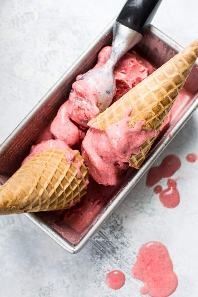 2 Ingredient Vegan Strawberry Ice Cream in Cones