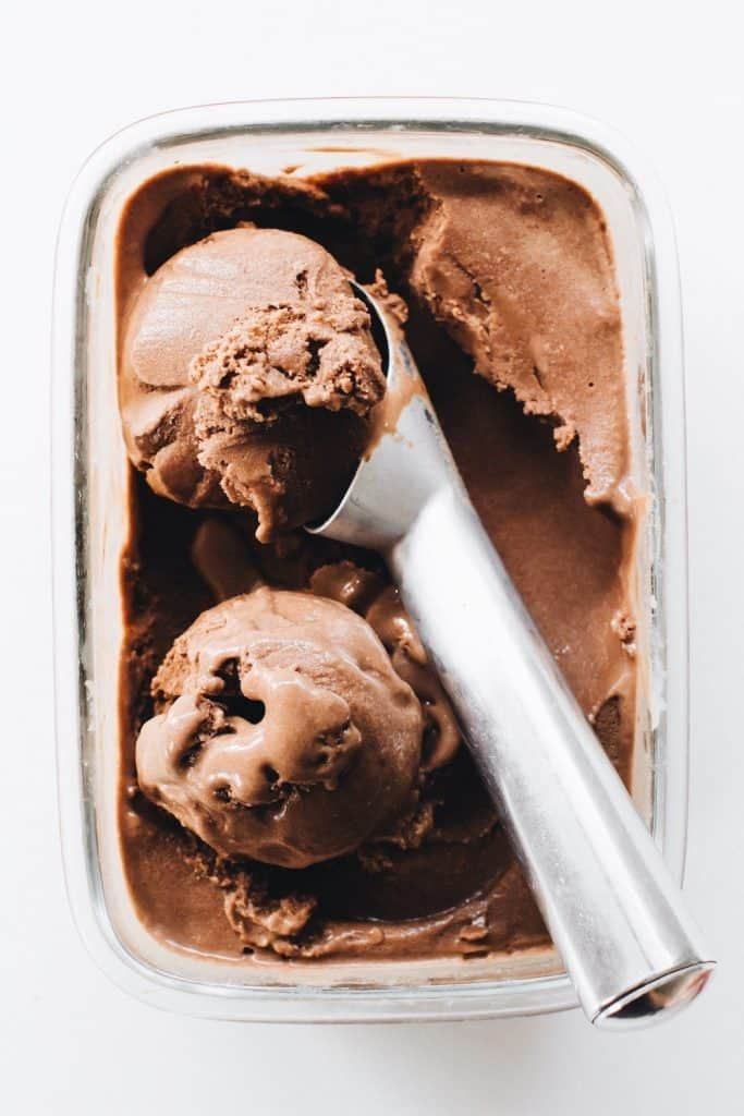 Two Scoops of Vegan Chocolate Ice Cream in a glass container