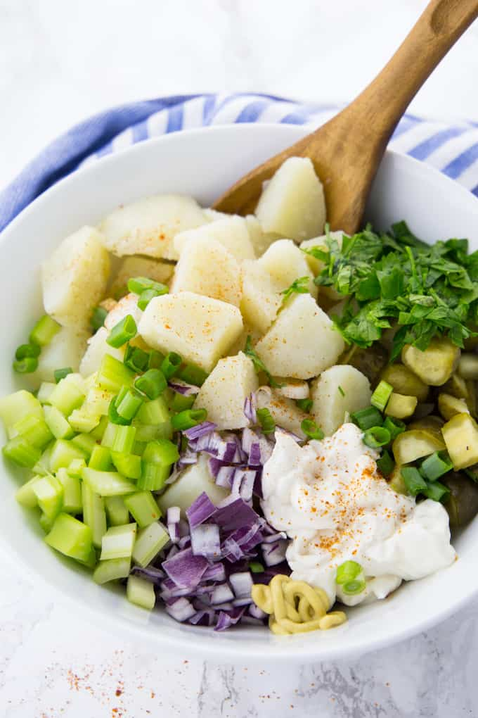 Chopped Ingredients for Potato Salad in a Bowl