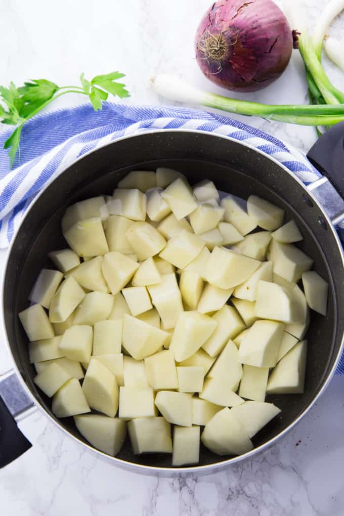 Diced Potatoes in a Pot with Water