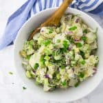 Vegan Potato Salad with Pickles in a Bowl
