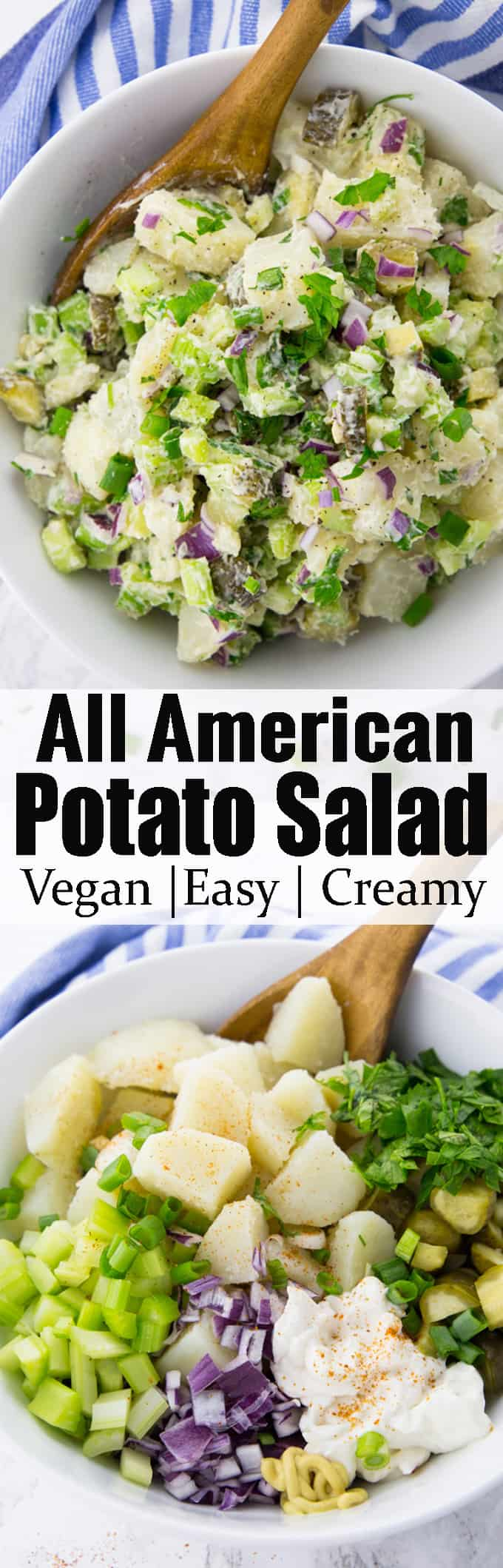 This vegan potato salad with pickles and celery is perfect for summer BBQs and picnics. It's a vegan version of classic American potato salad that will have everyone coming back for more! If you're looking for grilling sides, this potato salad is perfect! #vegan #potatosalad #veganrecipes #grillingsides #BBQ