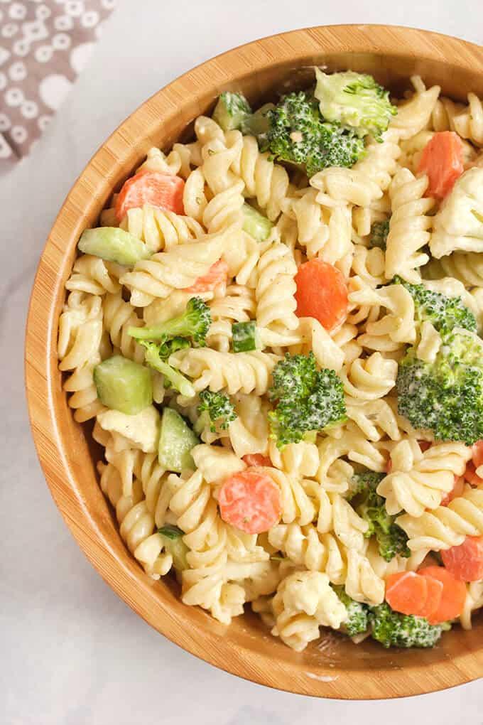 Vegan Ranch Pasta Salad in a wooden bowl