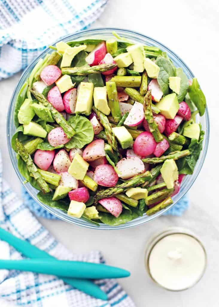 Roasted Asparagus Radish Salad with Creamy Garlic Cashew Dressing