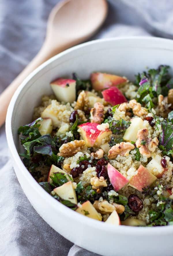Picnic Perfect Kale Quinoa Salad with Cider Vinaigrette