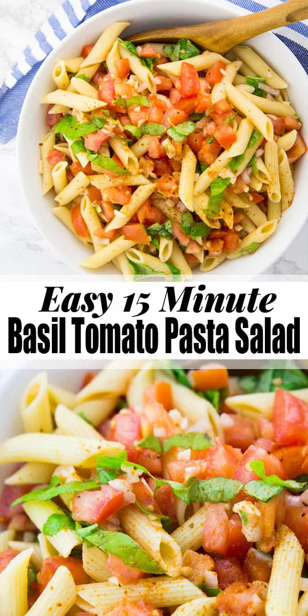 This easy pasta salad with basil and tomatoes is one of my favorites! It's ready in only 15 minutes and makes such a great side for BBQs and potlucks. If you're looking for a simple pasta salad that is ready in no time, then you will LOVE this recipe! #pastasalad #vegan #BBQ