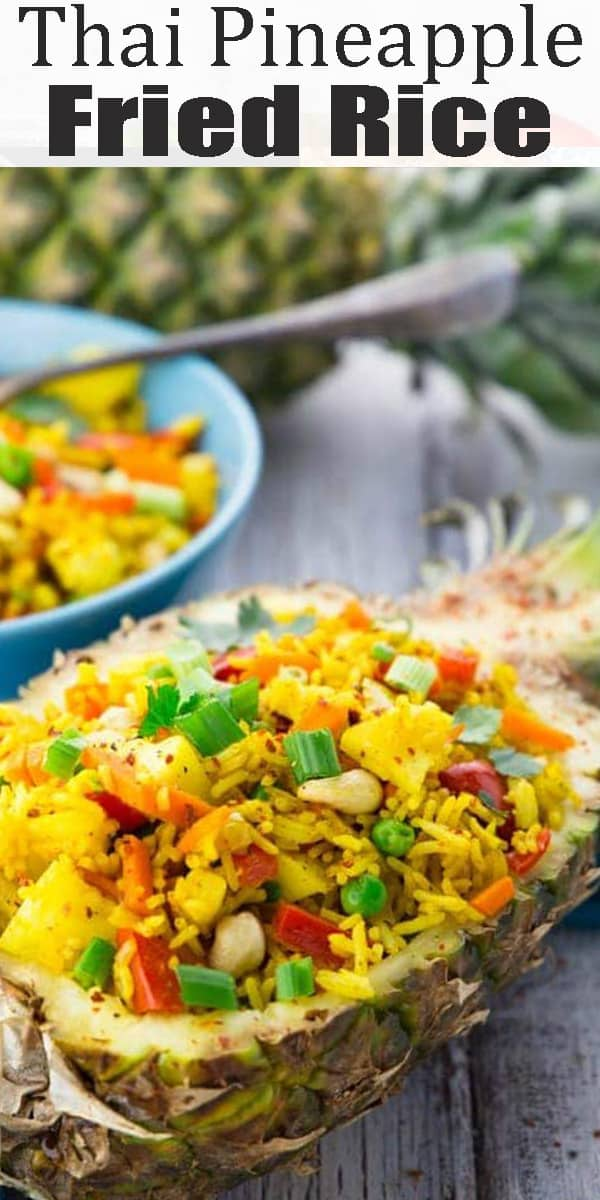 This Thai pineapple fried rice is one of my favorite vegan dinner recipes or one of my favorite vegetarian recipes in general! Find more vegan recipes at veganheaven.org #vegan #friedrice #Thairecipes