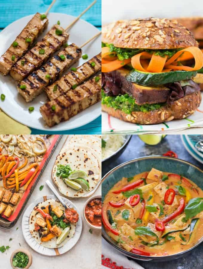 A collage of four vegan tofu recipes