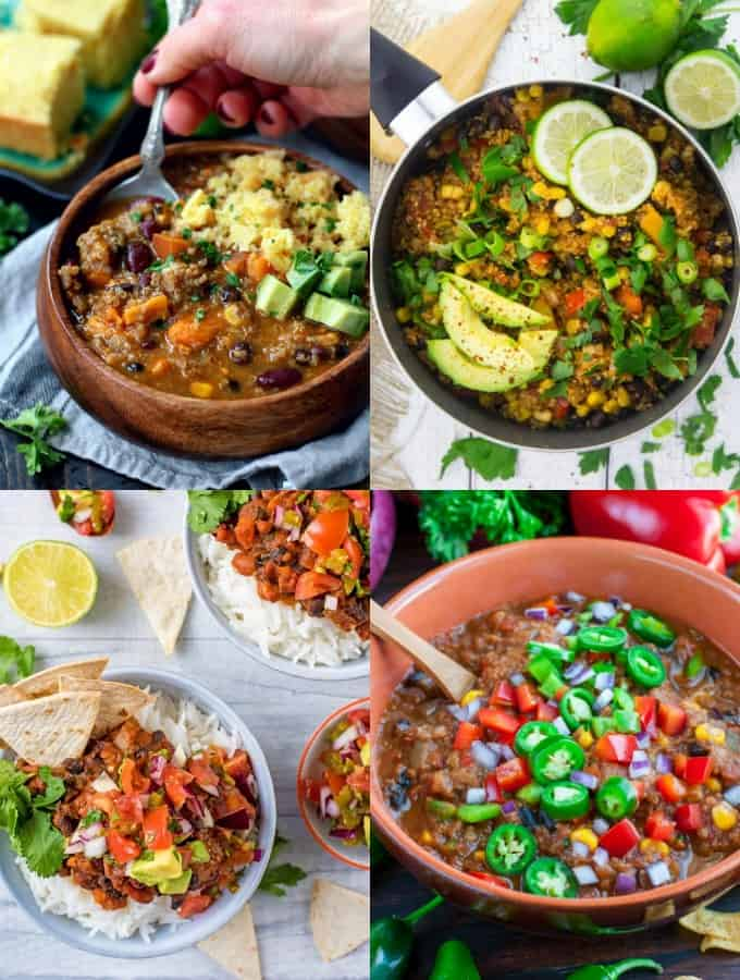 a collage of four vegan chili recipes