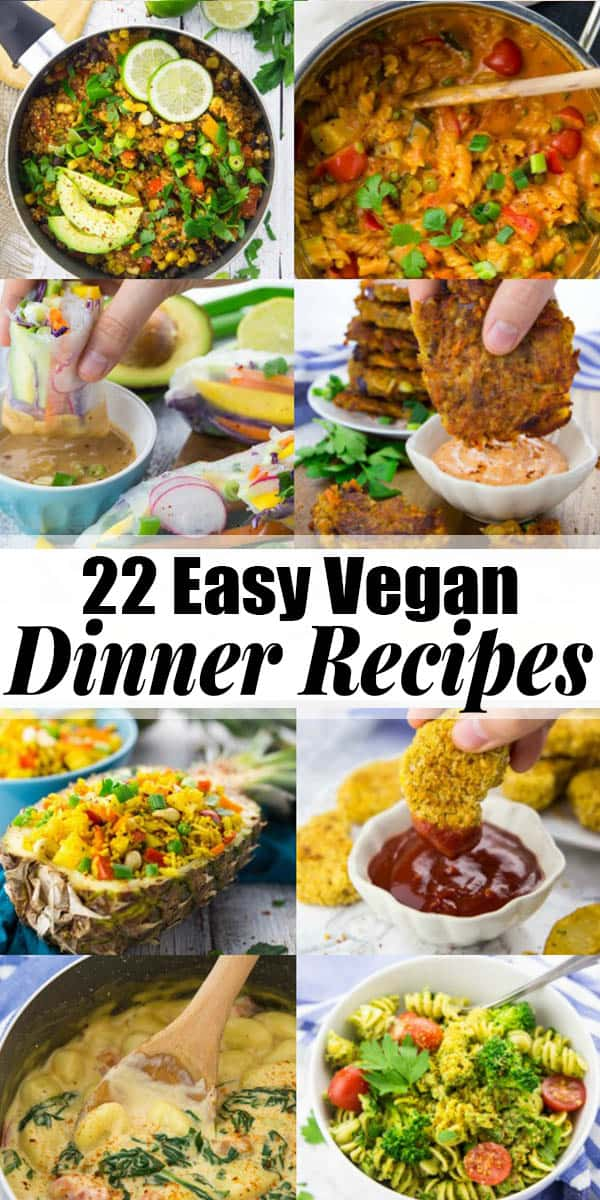 Are you looking for easy vegan dinner recipes now that the kids are back in school? Then look no further! I've got you covered with 22 simple vegan recipes that are perfect for the whole family. Lots of one pot recipes as well as pasta and rice dishes! #vegan #veganrecipes #vegandinner