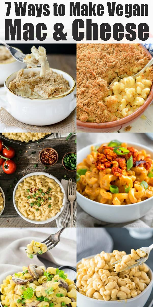 Are you looking for an easy way to make mac and cheese without dairy? Then this guide to vegan mac and cheese is just perfect for you!  It includes 7 unique ways to make this ultimate vegan comfort food! Get ready for delicious vegan dinner recipes! #vegan #macandcheese #pasta