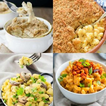 A collage of four vegan mac and cheese recipes