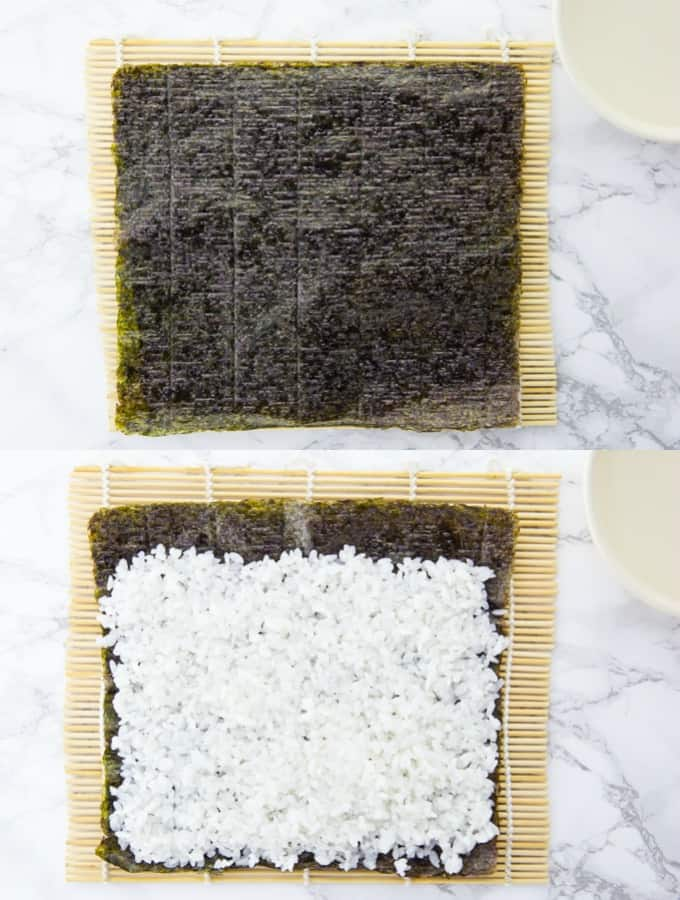 a step-by-step collage that shows how sushi rice is being put on a nori sheet on a bamboo mat