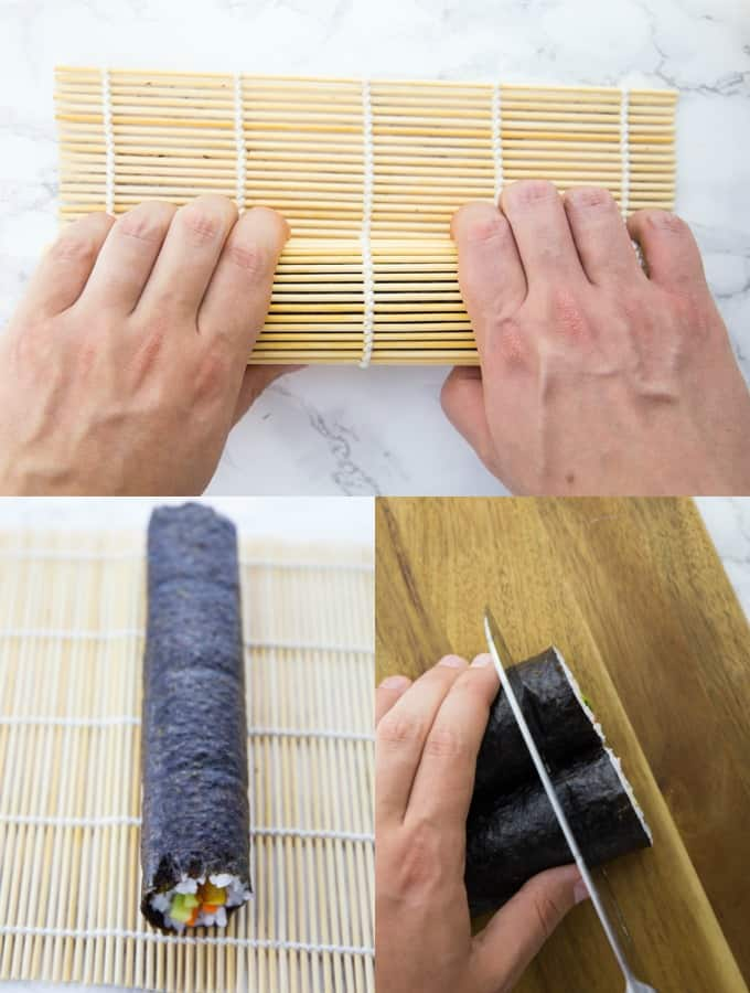 a vegan sushi roll is being rolled and cut into pieces on a wooden board