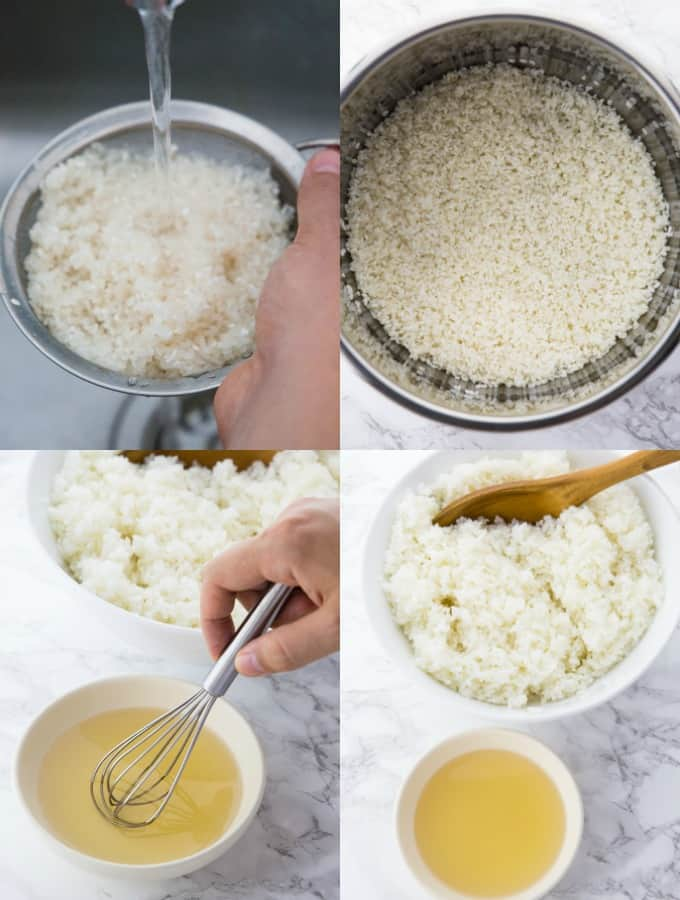 four photos of step-by-step preparation of sushi rice