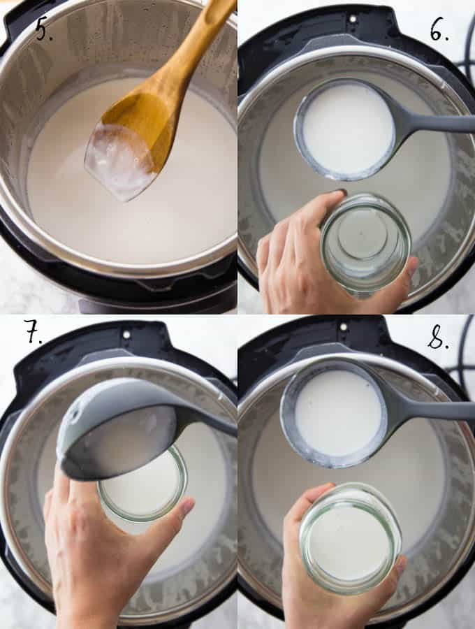 A step-by-step collage that shows you how to make vegan yogurt in the Instant Pot
