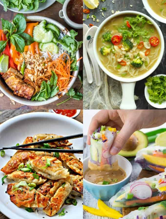 a collage of four vegan Asian recipes