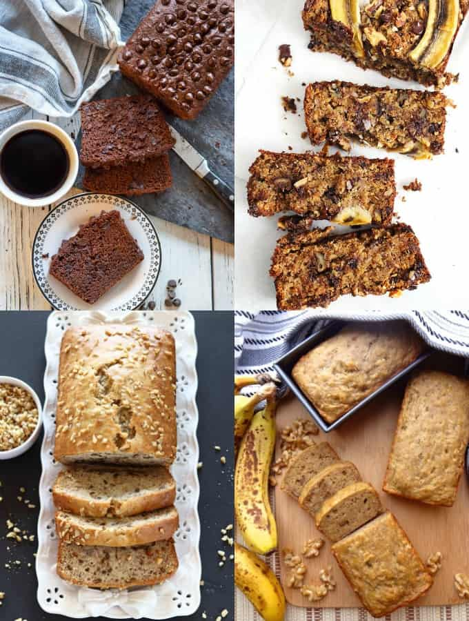 a collage of four vegan banana bread recipes