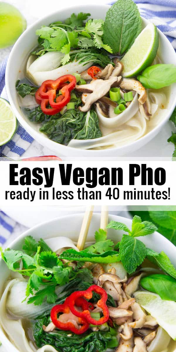This vegan pho does not only burst with flavor, but it is also super easy to make! It is ready in under 40 minutes and it is the perfect comfort food for cold nights! It's one of my favorite vegan soup recipes! #vegan #pho #souprecipes