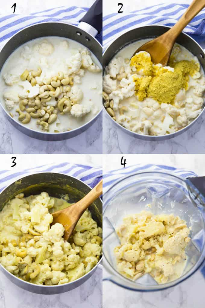 step-by-step-photos of the preparation of vegan Alfredo sauce (cooking of the sauce and in the blender before blending)