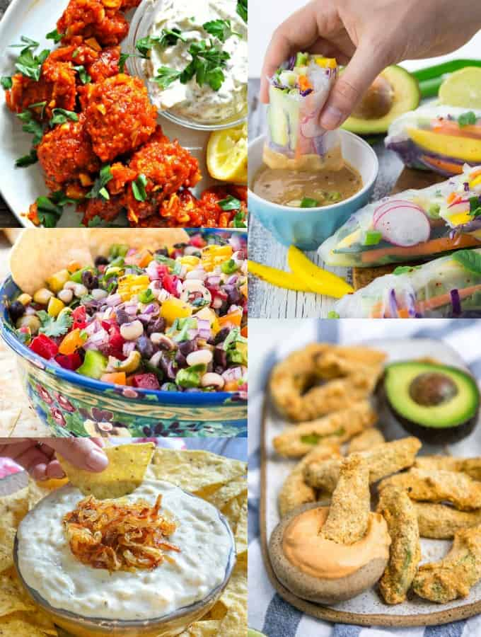 a collage of five vegan appetizers