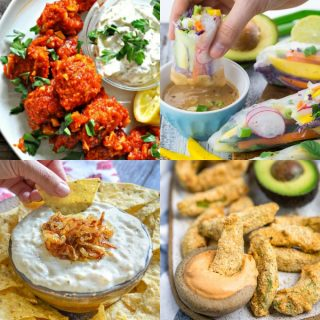 a collage of four vegan appetizers