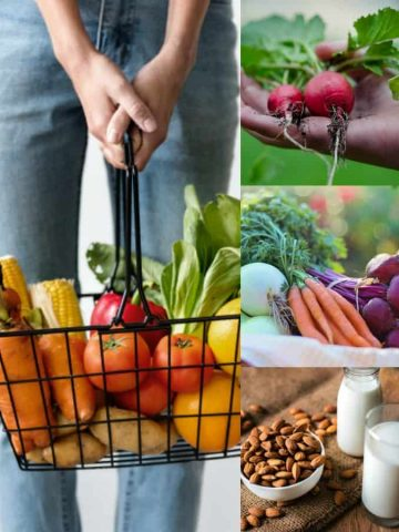 a collage of four photos showing pictures of vegetable and nuts and someone holding a basket with vegetables