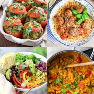 a collage of four vegan dinner recipes