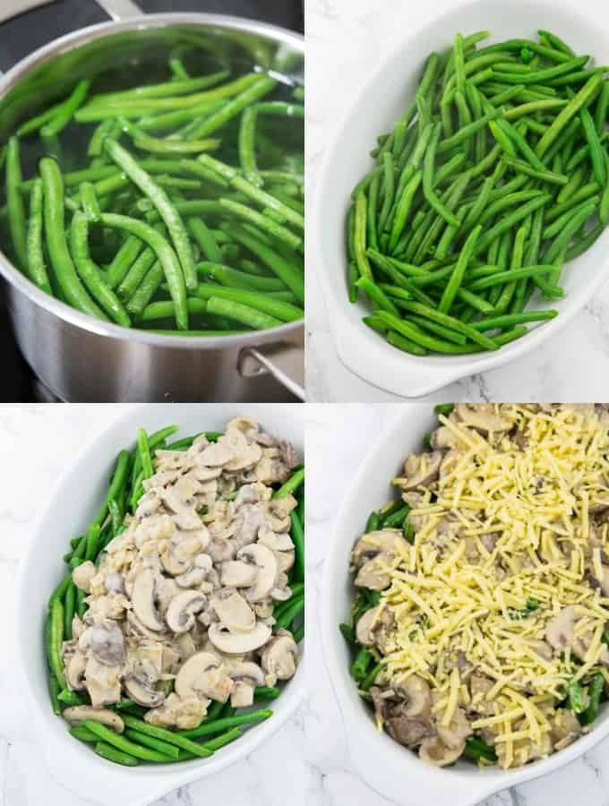Four step-by-step photos of vegan green bean casserole