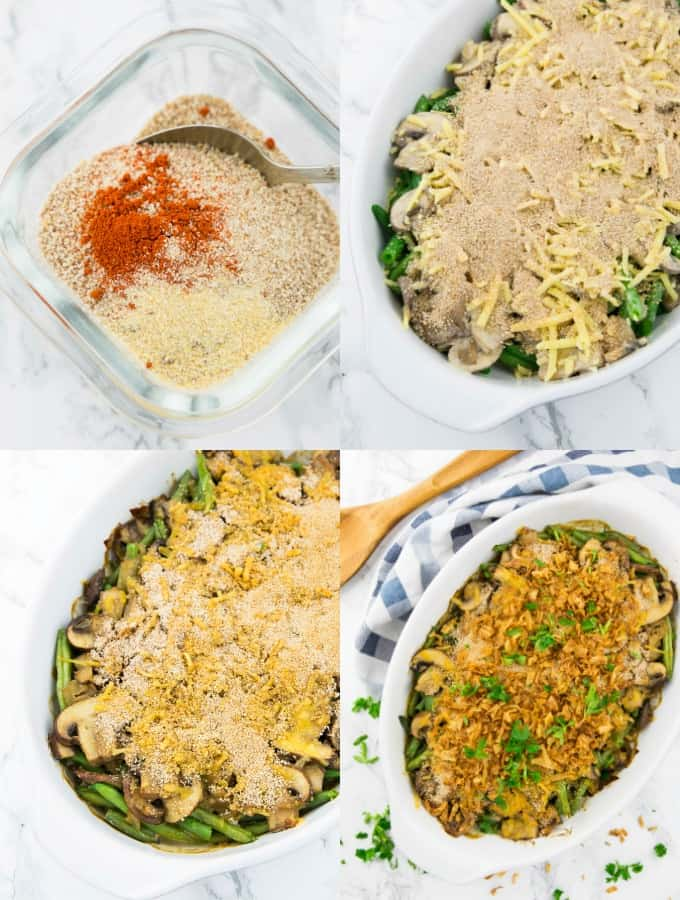 Four step-by-step photos of vegan green bean casserole