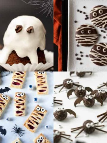 a collage of vegan Halloween recipes