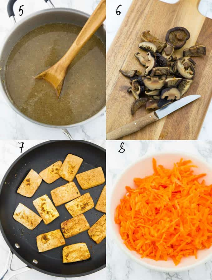 4 step-by-step photos of the preparation of vegan ramen