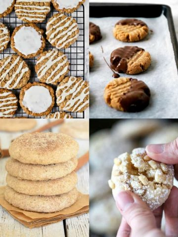 a collage of four vegan cookies