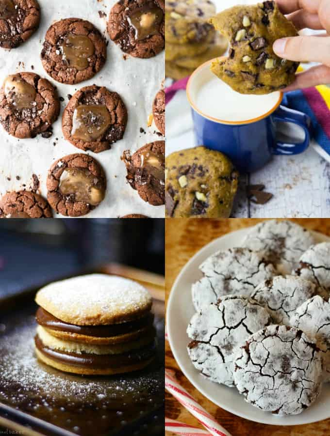 a collage of four vegan cookie recipes