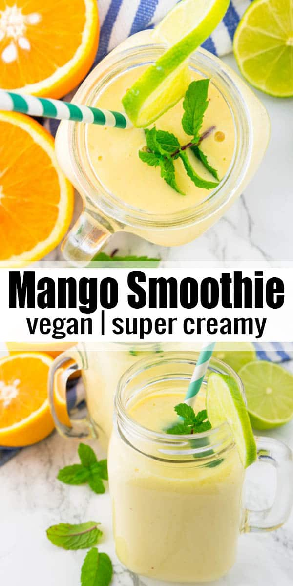 You will love this creamy mango smoothie! It's super easy to make, incredibly delicious, and completely plant-based. An easy treat that is ready in only 5 minutes! It's one of my favorite smoothie recipes! #smoothie #mango #vegan