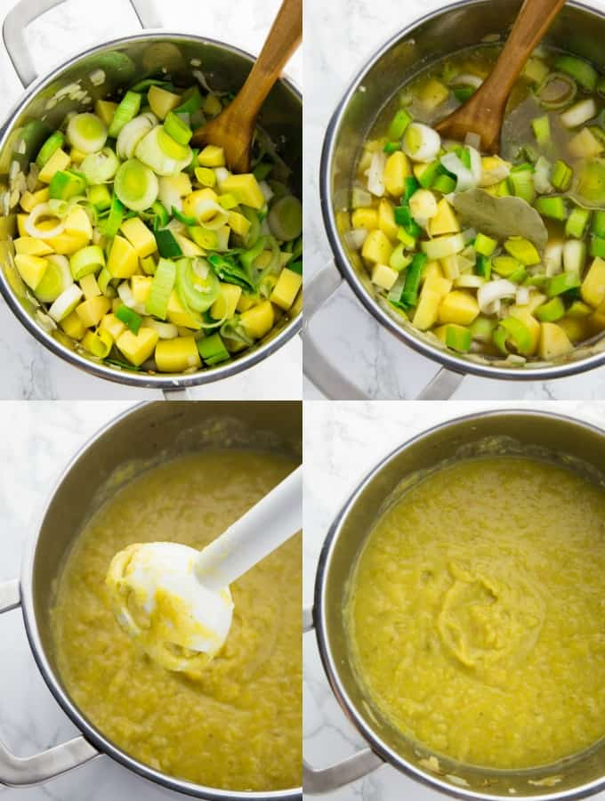 four step-by-step photos that show the preparation of vegan potato soup (cooking the soup)
